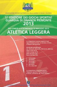 1 Edizione dei Giochi Sportivi Guardia di Finanza Piemonte - Locandina