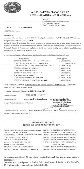 Convenzione Corsi di Apnea a Torino 4